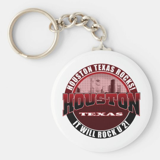 Houston Texas - Houston Rocks! It Will Rock U 2 Basic Round Button Key Ring