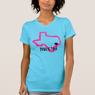 Houston Texas neon grunge ladies state tee