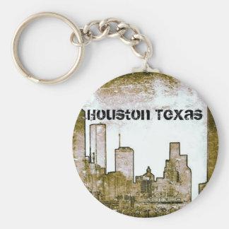 Houston Texas Skyline [Art] (Keychain) Basic Round Button Key Ring