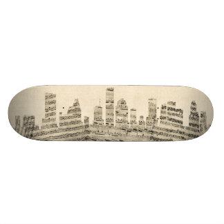 Houston Texas Skyline Sheet Music Cityscape Skate Board Decks