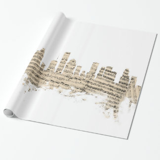 Houston Texas Skyline Sheet Music Cityscape Wrapping Paper