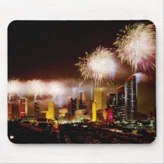 Houston, Texas skyline with fireworks Mouse Pad