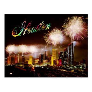 Houston, Texas skyline with fireworks Postcard