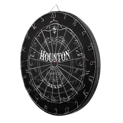 Houston, Texas - Space City Dartboard With Darts