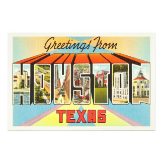 Houston Texas TX Old Vintage Travel Souvenir Art Photo