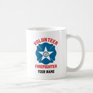 Houston, TX Flag Volunteer Firefighter Cross Classic White Coffee Mug