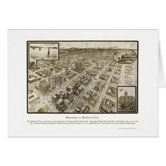 Houston, TX Panoramic Map - 1912 Greeting Card
