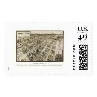 Houston, TX Panoramic Map - 1912 Stamps