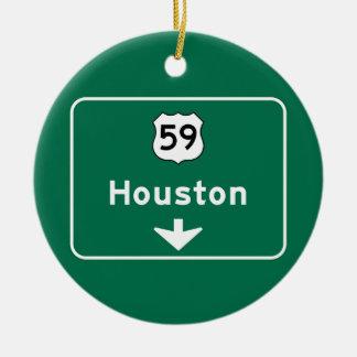 Houston, TX Road Sign Round Ceramic Decoration