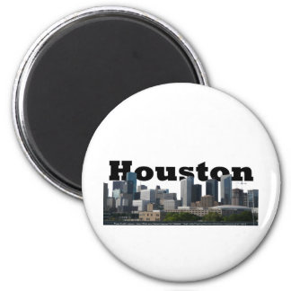 Houston, TX Skyline with Houston in the Sky 6 Cm Round Magnet