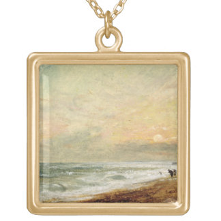 Hove Beach, c.1824 (oil on paper on panel) Gold Plated Necklace
