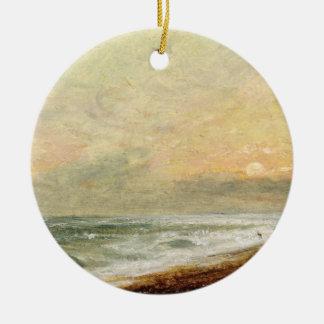 Hove Beach, c.1824 (oil on paper on panel) Round Ceramic Decoration