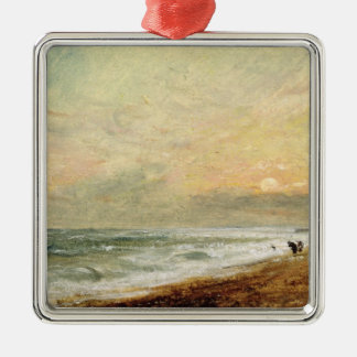Hove Beach, c.1824 (oil on paper on panel) Silver-Colored Square Decoration
