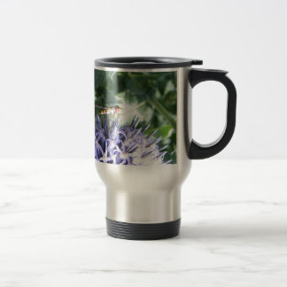 Hover fly on a purple flower travel mug