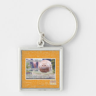 Hover kitteh Silver-Colored square key ring