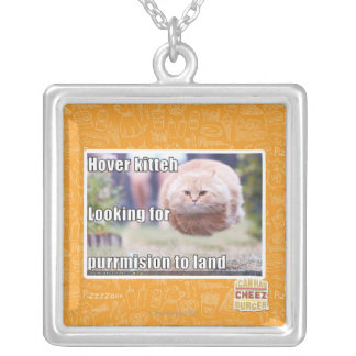 Hover kitteh silver plated necklace