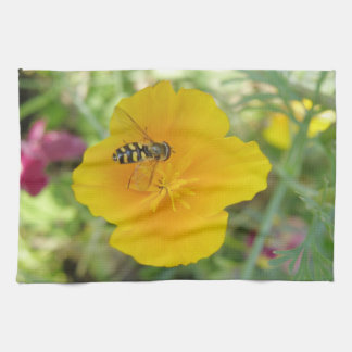 Hoverfly and Californian Poppy Kitchen Towel
