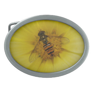 Hoverfly on a Marigold Belt Buckle