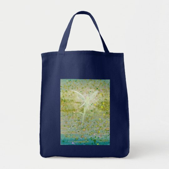 Hovering Fairy Green Grocery Bag
