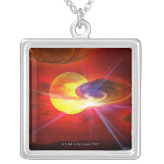 Hovering UFOs Silver Plated Necklace