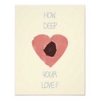 how deep is your love 11 cm x 14 cm invitation card