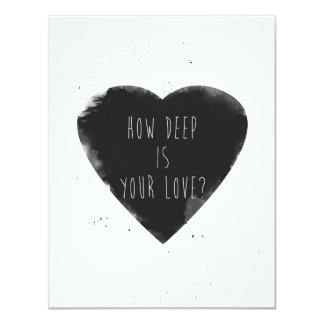 how deep is your love 11 cm x 14 cm invitation card
