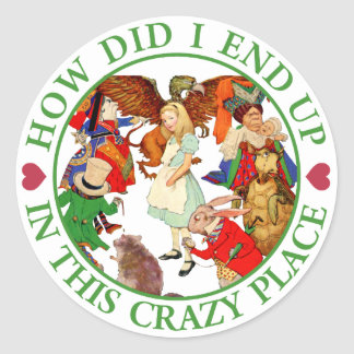 HOW DID I END UP IN THIS CRAZY PLACE CLASSIC ROUND STICKER