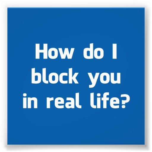 How Do I Block You in Real Life? Photo Art