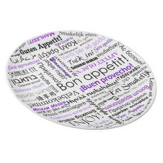 How do you say Bon appetit typography plate purple