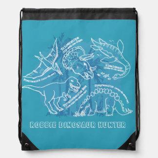 How do you say dinosaur blue named drawstring bag