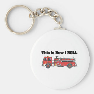 How I Roll (Fire Engine/Truck) Basic Round Button Key Ring