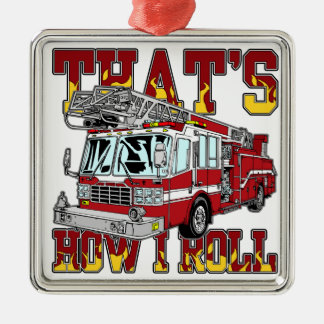 How I Roll Fire Truck Silver-Colored Square Decoration