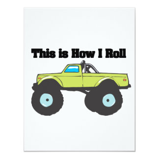 How I Roll (Monster Truck) 11 Cm X 14 Cm Invitation Card