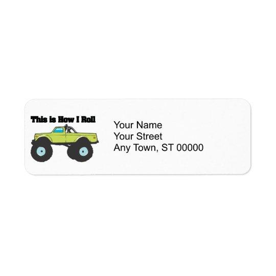 How I Roll (Monster Truck) Return Address Label