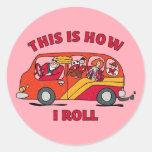 How I Roll Mum Minivan Round Sticker