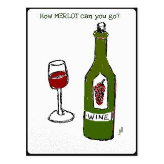 How MERLOT can you go wine print by jill Postcard