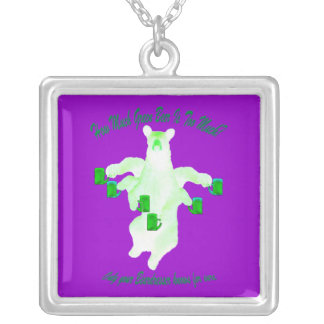 How Much Green Beer Is Too Much? Square Pendant Necklace
