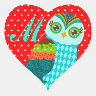 How Now Blue Owl - Custom Monogram Heart Stickers
