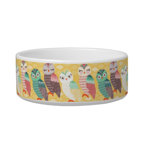 How Now Little Owls? Custom Name Cat Bowl