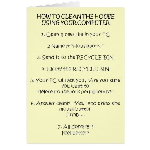 How to Clean Your House Using the Computer Greeting Card