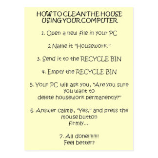 How to Clean Your House Using the Computer Postcard