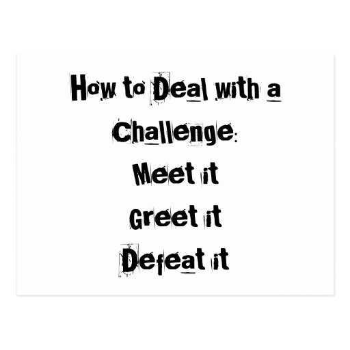 How to Deal with a Challenge Motivational Postcards