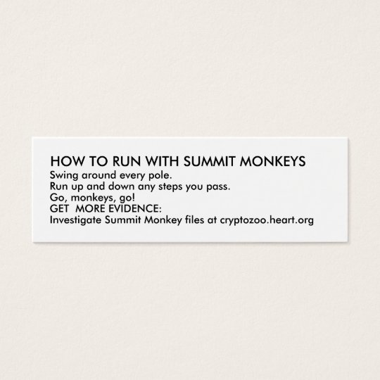 HOW TO RUN WITH SUMMIT MONKEYS MINI BUSINESS CARD