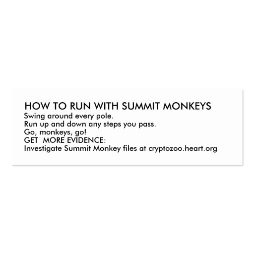 HOW TO RUN WITH SUMMIT MONKEYS PACK OF SKINNY BUSINESS CARDS
