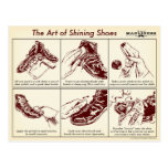 How to Shine Shoes Illustrated Guide Postcard