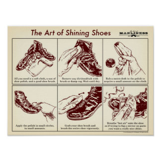 How to Shine Your Shoes Illustrated Guide Poster