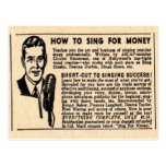 """""""How To Sing For Money""""  Postcard"""