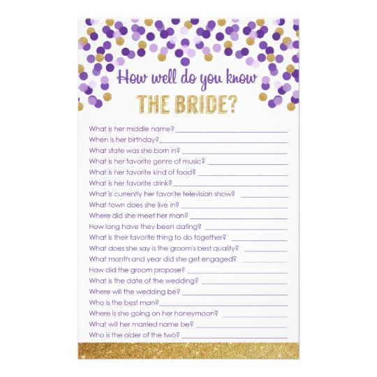 How well do you know the Bride? Game