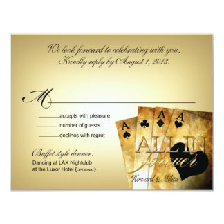 Howard & Milita Las Vegas Deluxe RSVP response 11 Cm X 14 Cm Invitation Card