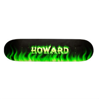 Howard skateboard green fire and flames design